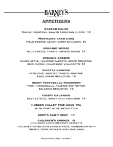 Appetizer Menu December 2020