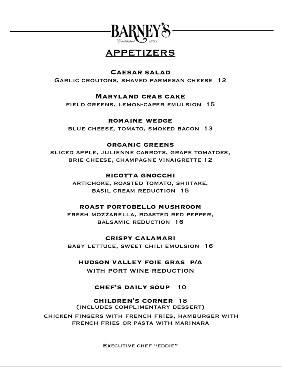 Appetizer Menu December 2020