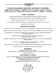 Easter Menu April 2021