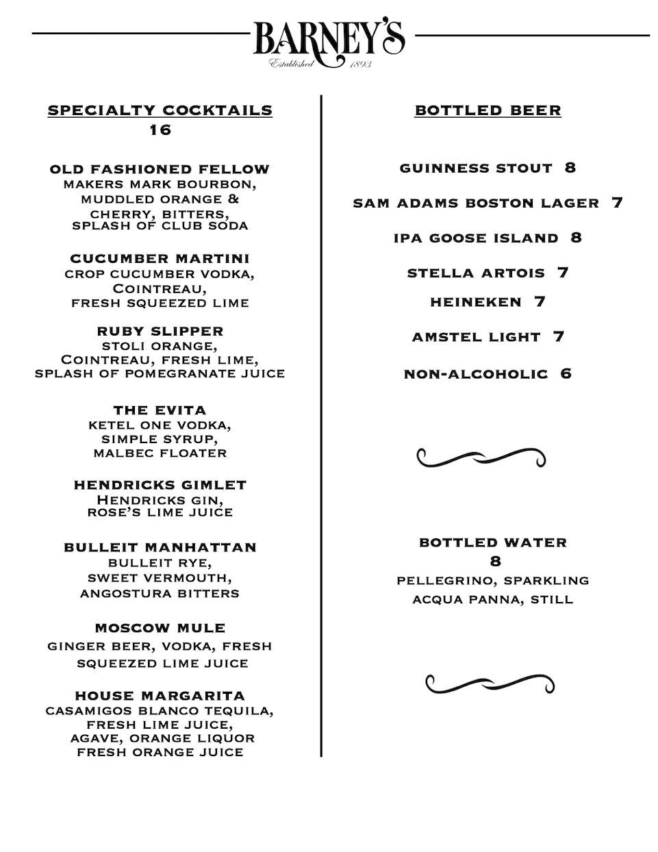 Specialty cocktails and drinks